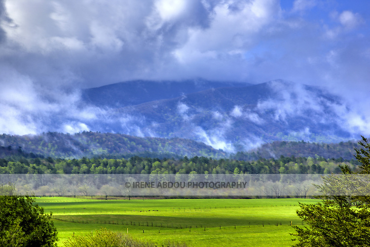 Viewed from Cades Cove, the Smoky Mountains are named after the mist that appears at the end of the rainstorms.