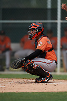 Baltimore Orioles catcher Alfredo Gonzalez (39) during a Minor League Spring Training game against the Boston Red Sox on March 20, 2019 at the Buck O'Neil Baseball Complex in Sarasota, Florida.  (Mike Janes/Four Seam Images)
