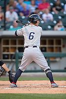 Zach Walters (6) of the Columbus Clippers at bat against the Charlotte Knights at BB&T BallPark on May 27, 2015 in Charlotte, North Carolina.  The Clippers defeated the Knights 9-3.  (Brian Westerholt/Four Seam Images)