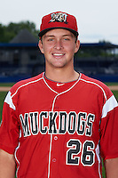 Batavia Muckdogs catcher Blake Anderson (26) poses for a photo on July 8, 2015 at Dwyer Stadium in Batavia, New York.  (Mike Janes/Four Seam Images)