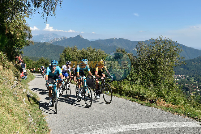 The lead group featuring Jakob Fuglsang (DEN) and Russian Champion Aleksandr Vlasov (RUS) Astana Pro Team and George Bennett (NZL) Team Jumbo-Visma climb the Muro di Sormano during the 114th edition of Il Lombardia 2020, running 231km from Bergamo to Como, Italy. 15th August 2020.<br /> Picture: LaPresse/Fabio Ferrari | Cyclefile<br /> <br /> All photos usage must carry mandatory copyright credit (© Cyclefile | LaPresse/Fabio Ferrari)