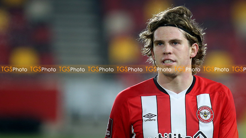 Mads Bech Sorensen of Brentford during Brentford vs Middlesbrough, Emirates FA Cup Football at the Brentford Community Stadium on 9th January 2021