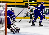 16 February 2019: University of Vermont Catamount Forward Olivia Kilberg, a Sophomore from Edina, MN, takes a second period shot on the Holy Cross Crusader Goaltender Julia Pelletier, a Sophomore from Pelham, NH, at Gutterson Fieldhouse in Burlington, Vermont. The Lady Cats defeated the Crusaders 4-1 to sweep their 2-game weekend series. Mandatory Credit: Ed Wolfstein Photo *** RAW (NEF) Image File Available ***