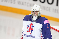 22nd May 2021, Riga Olympic Sports Centre Latvia; 2021 IIHF Ice hockey, Eishockey World Championship, Great Britain versus Russia;  goalkeeper Jackson Whistle Great Britain looking at the face-off