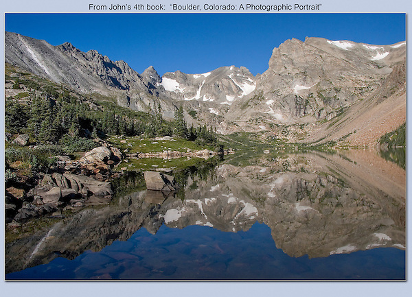Isabelle Lake and  Continental Divide, in Indian Peaks Wilderness, Colorado. Private photo tours to Indian Peaks. .  John leads private photo tours in Boulder and throughout Colorado. Year-round Colorado photo tours.