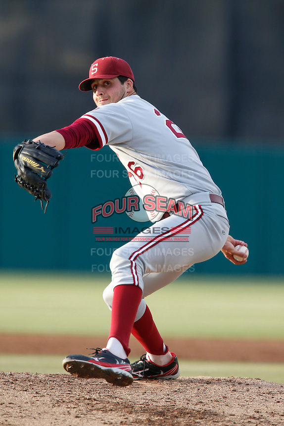 Mark Appel #26 of the Stanford Cardinal pitches against the USC Trojans at Dedeaux Field on April 5, 2013 in Los Angeles, California. (Larry Goren/Four Seam Images)