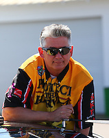 Mar 15, 2014; Gainesville, FL, USA; NHRA pro stock motorcycle rider Rodger Brogdon during qualifying for the Gatornationals at Gainesville Raceway Mandatory Credit: Mark J. Rebilas-USA TODAY Sports