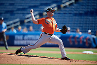 Baltimore Orioles starting pitcher Dylan Bundy (37) delivers a pitch during a Grapefruit League Spring Training game against the Philadelphia Phillies on February 28, 2019 at Spectrum Field in Clearwater, Florida.  Orioles tied the Phillies 5-5.  (Mike Janes/Four Seam Images)