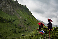 waiting in the rain up the Col de la Colombière (1618 m)<br /> <br /> Stage 8 from Oyonnax to Le Grand-Bornand (151km)<br /> 108th Tour de France 2021 (2.UWT)<br /> <br /> ©kramon