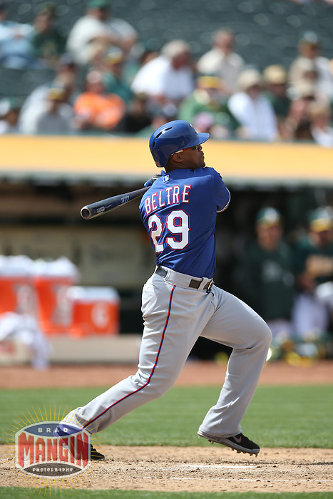 OAKLAND, CA - MAY 15:  Adrian Beltre #29 of the Texas Rangers bats during the game against the Oakland Athletics at O.co Coliseum on Wednesday May 15, 2013 in Oakland, California. Photo by Brad Mangin