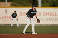 Danville Otterbots second baseman AJ Fritz (9) (SCF Manatee)  on defense against the Burlington Sock Puppets at Burlington Athletic Park on June 5, 2021 in Burlington, North Carolina. (Brian Westerholt/Four Seam Images)