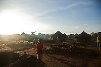 Morning in the IDP settlement  at Madi Opei, Uganda.