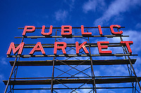 Red Public Market Sign Against Blue Sky; Pike Place Market; Seattle, Washingto