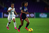 ORLANDO CITY, FL - FEBRUARY 24: Margaret Purce #20 of the USWNT dribbles the ball during a game between Argentina and USWNT at Exploria Stadium on February 24, 2021 in Orlando City, Florida.