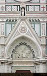 Triumph of the Cross Mourning Virgin Giovanni Dupre 1863 Main Portal Lunette Pediment and Sculptures Santa Croce Florence