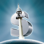 Illustrative image of communications tower and dollar sign representing growth