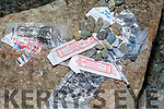 Cllr Sam Locke and Jackie Locke showing the drug paraphernalia found in   Rath graveyard on Saturday
