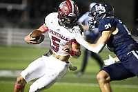 Landon Phipps (5) of Springdale runs ball as Malachi Cramer (21) of Springdale Har-ber pushes him out of bounds on Friday, Oct. 8, 2021, during the first half of play at Wildcat Stadium in Springdale. Visit nwaonline.com/211009Daily/ for today's photo gallery.<br /> (Special to the NWA Democrat-Gazette/David Beach)