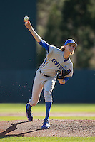 Kentucky Wildcats starting pitcher Sean Hjelle (30) delivers a pitch to the plate against the North Carolina Tar Heels at Boshmer Stadium on February 17, 2017 in Chapel Hill, North Carolina.  The Tar Heels defeated the Wildcats 3-1.  (Brian Westerholt/Four Seam Images)