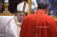 Pope Francis leads a consistory for the creation of five new cardinals  at St Peter's basilica in Vatican.28 november 2020