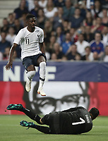 International friendly football match France vs Italy, Allianz Riviera, Nice, France, June 1, 2018. <br /> France's Ousmane Debele (l) in action with Italy's goalkeeper Salvatore Sirighu (r) during the international friendly football match between France and Italy at the Allianz Riviera in Nice on June 1, 2018.<br /> UPDATE IMAGES PRESS/Isabella Bonotto