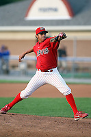 August 7 2008:  Pitcher Arquimedes Nieto of the Batavia Muckdogs, Class-A affiliate of the St. Louis Cardinals, during a game at Dwyer Stadium in Batavia, NY.  Photo by:  Mike Janes/Four Seam Images