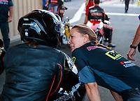 Jul 19, 2019; Morrison, CO, USA; NHRA pro stock motorcycle rider Jianna Salinas with Karen Stoffer during qualifying for the Mile High Nationals at Bandimere Speedway. Mandatory Credit: Mark J. Rebilas-USA TODAY Sports
