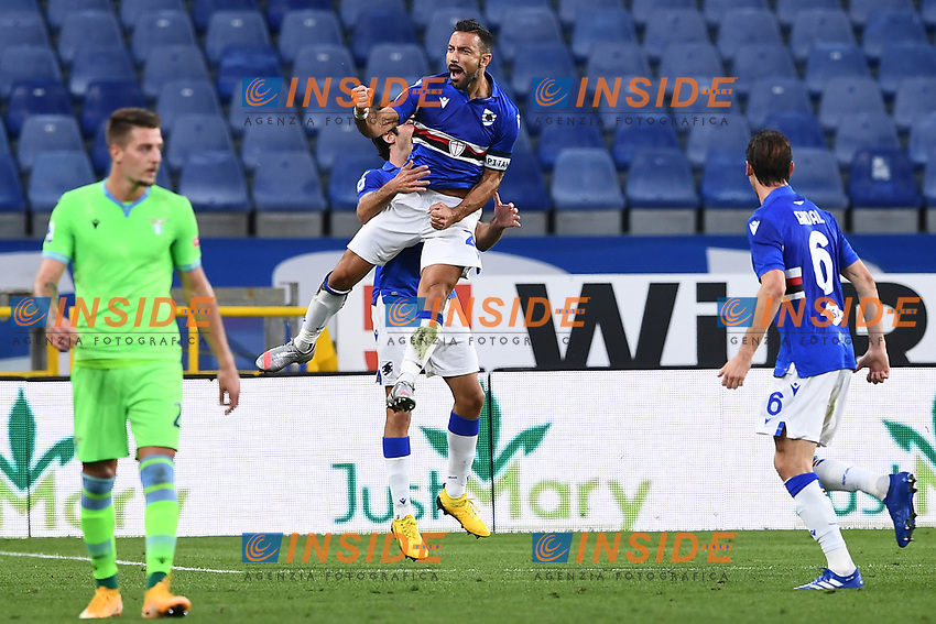 Fabio Quagliarella of UC Sampdoria celebrates after scoring the goal of 1-0 during the Serie A football match between UC Sampdoria and SS Lazio at stadio Marassi in Genova (Italy), October 17th, 2020. <br /> Photo Image Sport / Insidefoto