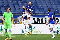 Fabio Quagliarella of UC Sampdoria celebrates after scoring the goal of 1-0 during the Serie A football match between UC Sampdoria and SS Lazio at stadio Marassi in Genova (Italy), October 17th, 2020. <br /> Photo Image Sport / Insidefoto