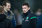 St Johnstone v Hibernian…27.02.19…  McDiarmid Park    SPFL<br />Hibs manager Paul Heckinbottam with Johnathan Spectre<br />Picture by Graeme Hart. <br />Copyright Perthshire Picture Agency<br />Tel: 01738 623350  Mobile: 07990 594431