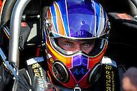 Feb. 19, 2010; Chandler, AZ, USA; NHRA top fuel dragster driver Mike Strasburg during qualifying for the Arizona Nationals at Firebird International Raceway. Mandatory Credit: Mark J. Rebilas-