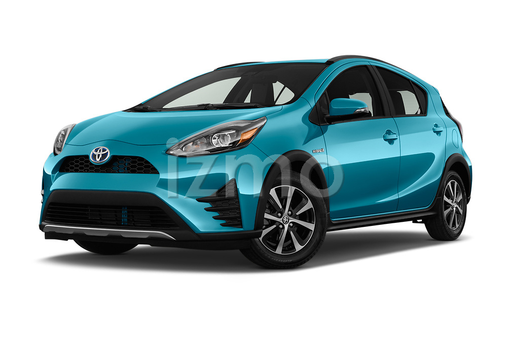 Stock pictures of low aggressive front three quarter view of a 2018 Toyota Prius c One 5 Door Hatchback