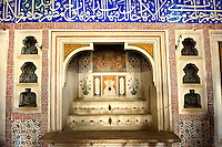 The Ottoman architecture of the fountain in the Privy Chamber of Sultan Murad III decorated with 16th century Iznk tiles. Topkapi Palace, Istanbul, Turkey