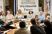 Toby Gale speaks at a Board meeting of Westbourne Neighbourhood Forum in the community hall on Amberley Estate, North Paddington.