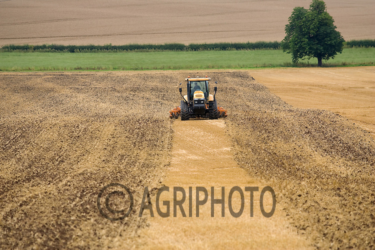 Tractor Cultivating Stubble Land In Nottinghamshire