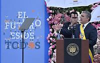 BOGOTÁ - COLOMBIA, 07-08-2018: Ivan Duque, se dirige a los asistentes después de tomar posesión como presidente de Colombia para el período constitucional 2018 - 22 durante ceremonia en la Plaza Bolívar el 7 de agosto de 2018 en Bogotá, Colombia. / Ivan Duque, speechs to the assistants after he takes office to constitutional term as president 2018 - 22 at Plaza Bolivar on August 7, 2018 in Bogota, Colombia. Photo: VizzorImage/ Gabriel Aponte / Staff