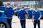 St Johnstone v Clyde…17.04.21   McDiarmid Park   Scottish Cup<br />Jason Kerr, Chris Kane and John Robertson arrive ahead of todays Scottish Cup game against Clyde<br />Picture by Graeme Hart.<br />Copyright Perthshire Picture Agency<br />Tel: 01738 623350  Mobile: 07990 594431