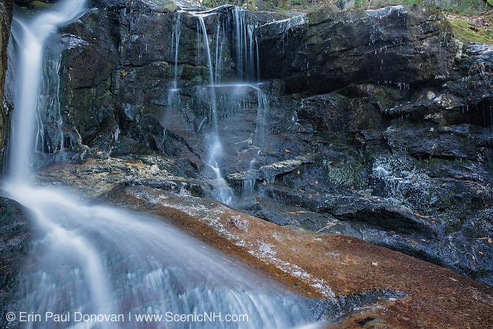 Erebus Falls on Townline Brook in the White Mountains, New Hampshire. Located near Dolly Copp Road, this waterfall is one of three waterfalls on Townline Brook, and as a group they are known as Triple Falls.