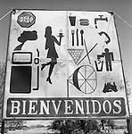 Sign language. Roadway restaurant advertisement near the Atacama desert, Chile South America. 2000