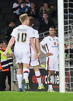 Celebrations as Josh Murphy (right) of MK Dons scores the winning goal during the Sky Bet Championship match between MK Dons and Cardiff City at stadium:mk, Milton Keynes, England on 26 December 2015. Photo by Andy Rowland / PRiME Media Images