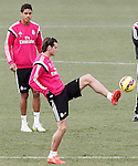 Real Madrid's Raphael Varane (l) and Garet Bale during training session.January 30,2015.(ALTERPHOTOS/Acero)