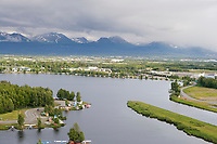 Aerial view of the city of Anchorage and Lake Hood float plane pond.