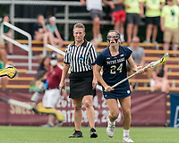 NEWTON, MA - MAY 22: Maddie Howe #24 of Notre Dame looks to pass during NCAA Division I Women's Lacrosse Tournament quarterfinal round game between Notre Dame and Boston College at Newton Campus Lacrosse Field on May 22, 2021 in Newton, Massachusetts.
