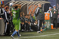 Seattle Sounders head coach Sigi Schmid watches Tyson Wahl (5) on a throw in. The New York Red Bulls  and the Seattle Sounders played to a 1-1 tie during a Major League Soccer match at Giants Stadium in East Rutherford, NJ, on June 20, 2009.