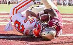 Florida State defensive back A.J. Lytton takes a Clemson pass away  from Clemson wide receiver Will Swinney in the end zone for a touchback in the second half of an NCAA college football game in Tallahassee, Fla., Saturday, Oct.27, 2018. Clemson defeated Florida State 59-10. (AP Photo/Mark Wallheiser)