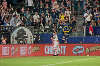CARSON, CA - SEPTEMBER 15: Joe Corona #14 of the Los Angeles Galaxy celebrates a goal during a game between Sporting Kansas City and Los Angeles Galaxy at Dignity Health Sports Complex on September 15, 2019 in Carson, California.