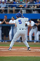 Dalton Guthrie (5) of the Florida Gators at bat against the Wake Forest Demon Deacons in Game Two of the Gainesville Super Regional of the 2017 College World Series at Alfred McKethan Stadium at Perry Field on June 11, 2017 in Gainesville, Florida.  (Brian Westerholt/Four Seam Images)