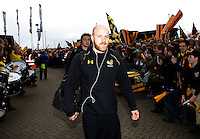 Photo: Richard Lane/Richard Lane Photography. Wasps v Exeter Chiefs.  European Rugby Champions Cup Quarter Final. 09/04/2016. Wasps' Joe Simpson arrives at the Ricoh Arena as he returns from injury.