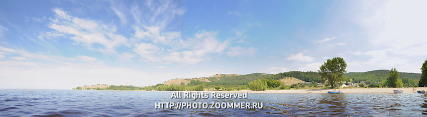 Panorama of Zhiguli mountains (including Devia hill and Molodetsky barrow) from the waters of Volga river
