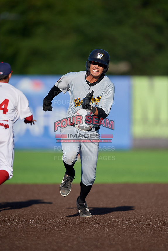 West Virginia Black Bears Blake Sabol (24) running the bases during a NY-Penn League game against the Auburn Doubledays on August 23, 2019 at Falcon Park in Auburn, New York.  West Virginia defeated Auburn 8-1, the first game of a doubleheader.  (Mike Janes/Four Seam Images)